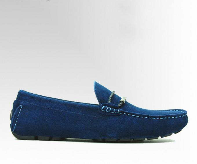 Tie Up Casual Mens Blue Suede Loafers Genuine Leather Handmade Suede Shoes  b372cd42941