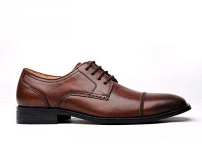 Anti - Slip Italy Handmade Oxford Shoes , Full Grain Leather Mens Brown Formal Shoes