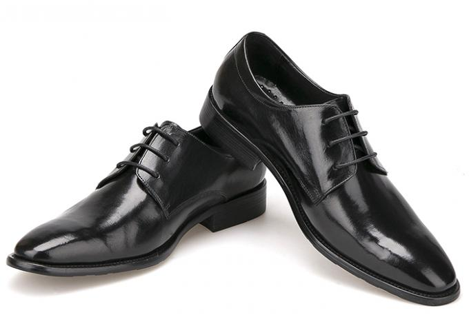 Italian Mens Leather Dress Shoes Black Lace Dress Shoes For Business Office