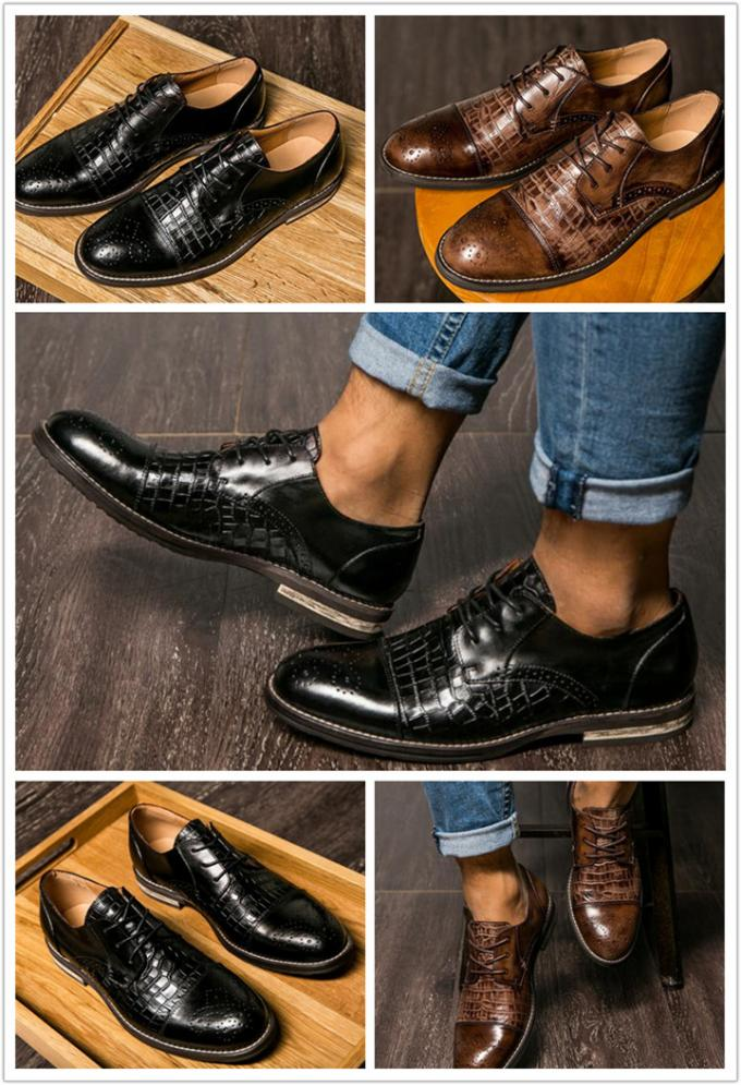 Patina Crocodile Skin Shoes for Men, Brogue Wingtips Exotic Leather Men Shoes