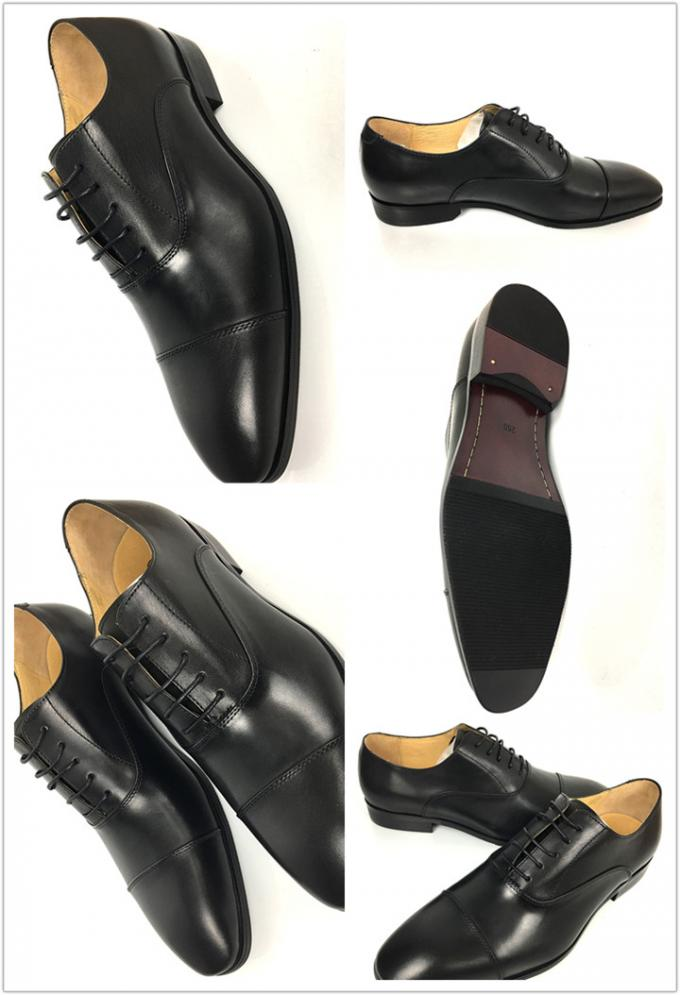 Black Mens Leather Dress Shoes / Men Business Casual Shoes Lace Up Closure Type