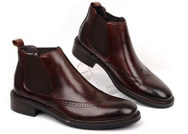 Brogue Style Mens Leather Dress Boots Brown / Black Flat Ankle Boots For Business