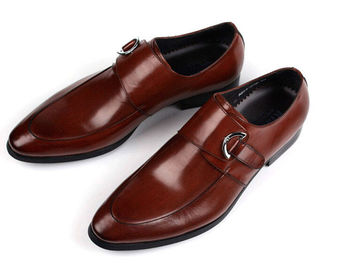 China Burnished Leather Mens Monk Strap Shoes Black / Brown For Wedding supplier