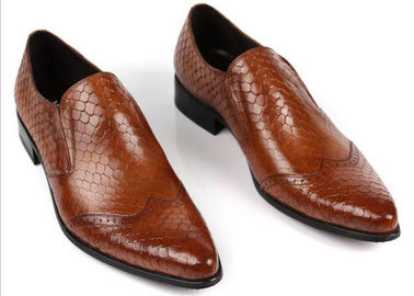China Snake Skin Pattern Men Formal Dress Shoes Genuine Leather Men Luxury Shoes For Party supplier