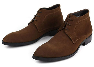 China ODM Mens Chelsea Suede Boots , Black / Brown Mens Lace Up Casual Shoes supplier