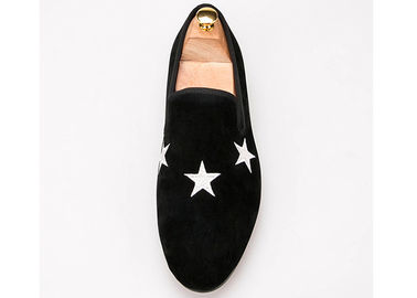 China Dark Blue Mens Velvet Smoking Slippers Elegant Star Custom Embroidered Slippers supplier