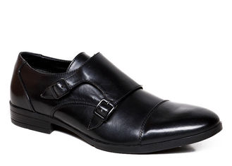 Italian Black Double Buckle Monk Strap Shoes Handmade Flats Real Leather Dress Shoes