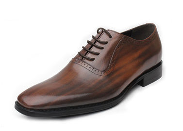 China Retro Vintage Mens Leather Dress Shoes Brown Oxfords Zip Lace Up Brogue Shoes supplier