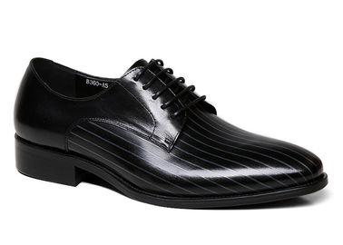China Handmade Mens Black Patent Leather Shoes Square Toe Striped Men Wedding Shoes supplier