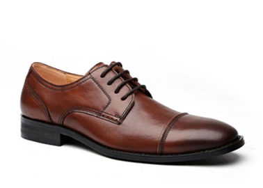 China Anti - Slip Italy Handmade Oxford Shoes , Full Grain Leather Mens Brown Formal Shoes supplier