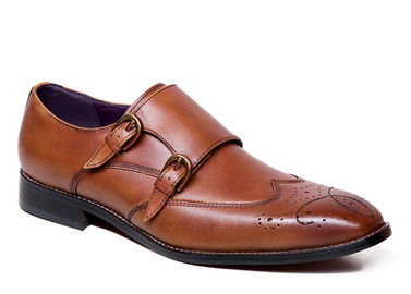 Goodyear Welted Leather Soles Handmade Brown Double Monk Strap Mens Shoes