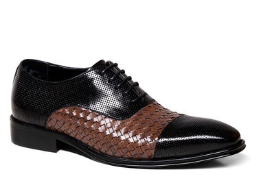 China Iron Woven Mens Woven Leather Lace Up Shoes Pointed Toe Flats Mens Brown Wedding Shoes supplier