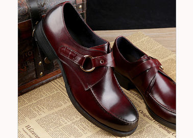 Customized Flat Mens Monk Strap Shoes Round Toe Full Grain Leather Mens Dress Shoes