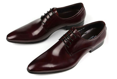 China Oxford Style Mens Leather Dress Shoes Dark Red / Black Lace Up Dress Shoes supplier