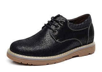 Business Mens Leather Casual Shoes , Cushioning Round Toe Black Elevator Shoes