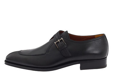 Custom Goodyear Mens Monk Strap Shoes Handcrafted Mens Black Leather Brogue Shoes