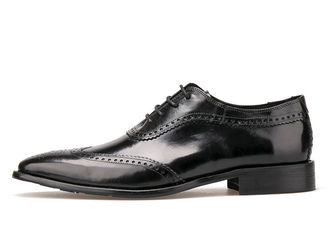 Pointed Toe Men Brogue Shoes Genuine Leather Flat Mens Black Oxford Shoes