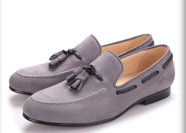 Handmade Mens Black Velvet Shoes , Tassel British Style Grey Casual Dress Shoes