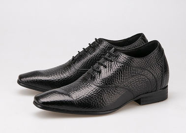 7 Cm Height Increasing Elevator Shoes , Sharp Toe Black Patent Leather Oxford Shoes