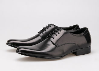 China Cow Leather Upper Lace Up Derby Shoes , Flat Heel Soft Mens Black Formal Shoes supplier