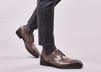 Handmade Mens Black Patent Leather Shoes Square Toe Striped Men Wedding Shoes