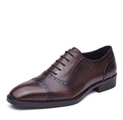 Lace Up Mens Pointed Toe Dress Shoes Autumn Mens Brown Brogue Shoes For Wedding