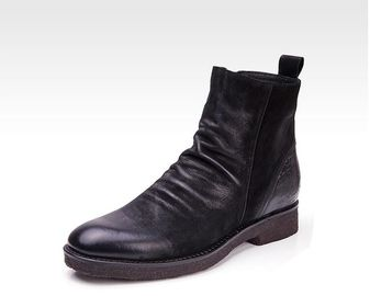 Round Toe Mens Leather Dress Boots Fashion Handmade Mens Goodyear Welted Boots