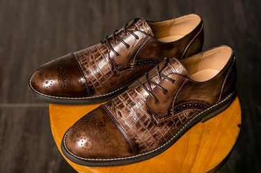 Full Grain Leather Mens Dress Shoes , Pointed Toe Handmade Mens Oxford Shoes