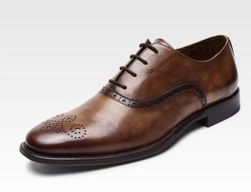 Lace Up Men Brogue Shoes Low Luxury Heel Dress Shoes With 37 - 48 Size