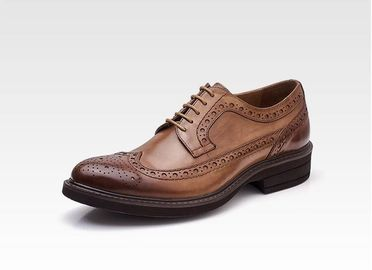 Classic Wedding Leather Mens Shoes , Lace Up Mens Casual Leather Shoes