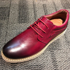 Brushing burgundy leather round toe casual mens shoes , leisure shoes
