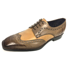 Mens double monk dress shoes brogue detailing in waxy leather finishing