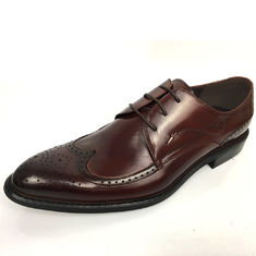 Men's New Style Brown High Class Mens Leather Dress Shoes Pigkin Rubber