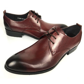 China Wine Red Rismart Mature Men's Oxfords Shoes Stylish Dress Leather Shoes supplier