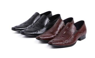 Normal Size Carved Mens Leather Dress Shoes , Pointed Toe Leisure Shoes