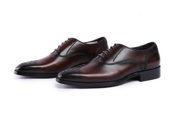 Real Stitching Derby Mens Leather Dress Shoes , Fully Handcrafted Goodyear Shoes