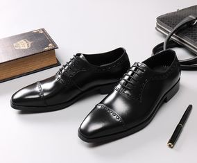 China Leather Spring / Fall Men'S Wedding Dress Shoes Mens Fashion Goodyear Soles Oxfords supplier
