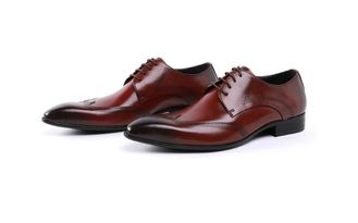 Custom Brogue Brown Brush Off Leather Shoes Comfortable Dress For Men