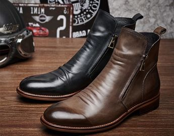 Fashion Casual Mens Leather Dress Boots Zipper Closure Type With Rubber Sole