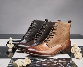 Durable Fashion Comfortable Mens Leather Dress Boots ,  Military Men Boots