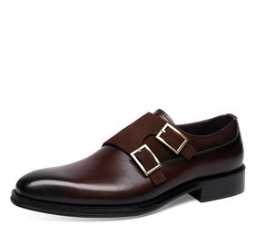 Duoble monkstrap patina hand made fully leather shoes for men