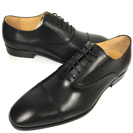 China Black Mens Leather Dress Shoes / Men Business Casual Shoes Lace Up Closure Type supplier