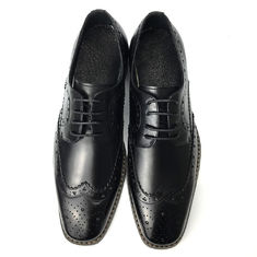 China Mens Casual Leather Shoes / Mens Black Oxford Shoes Fashion Italian Style supplier
