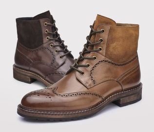 Italian Brogue Style Mens Leather Dress Boots 39 - 45 Size With Multi Color