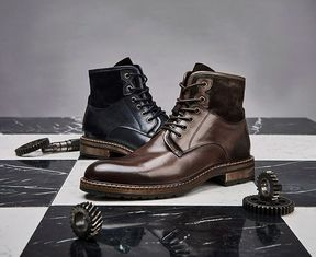 Comfortable Mens Leather Dress Boots Soft Coffee And Blue Vintage Shoes