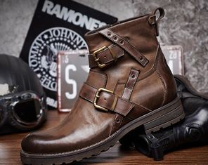 Genuine Leather British Retro Mens Martin Boots / Trendy Chelsea Boots