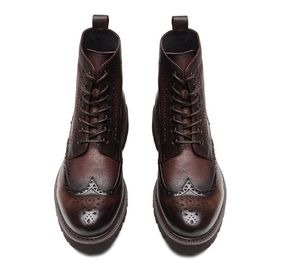 Fashion Ankle Genuine Warm Leather Boots , Work Shoes For Men Lace Up Closure Type