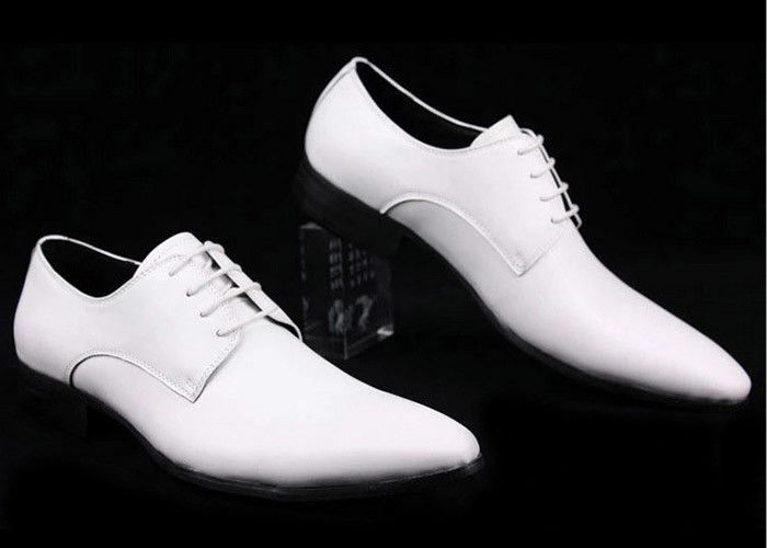 White Leather Men\'S Wedding Dress Shoes Comfortable / Breathable ...