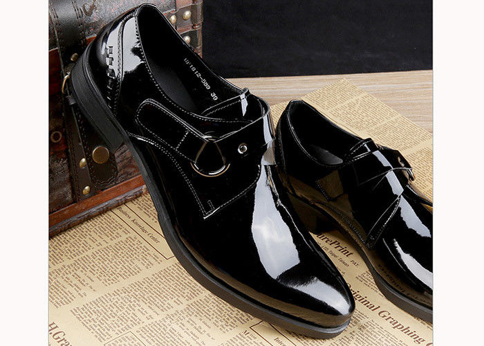 Black Shiny Men Formal Dress Shoes Patent Leather Oxfords Style With