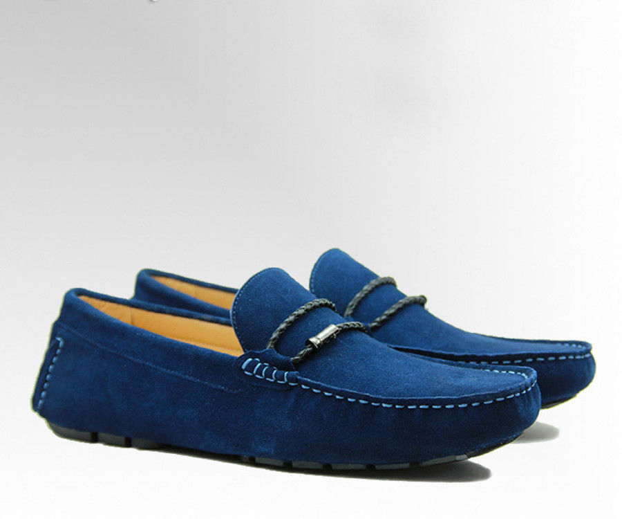 China Tie Up Casual Mens Blue Suede Loafers Genuine Leather Handmade Suede  Shoes supplier 3640032526a